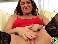adorable mom in black stockings pleased with anal sex